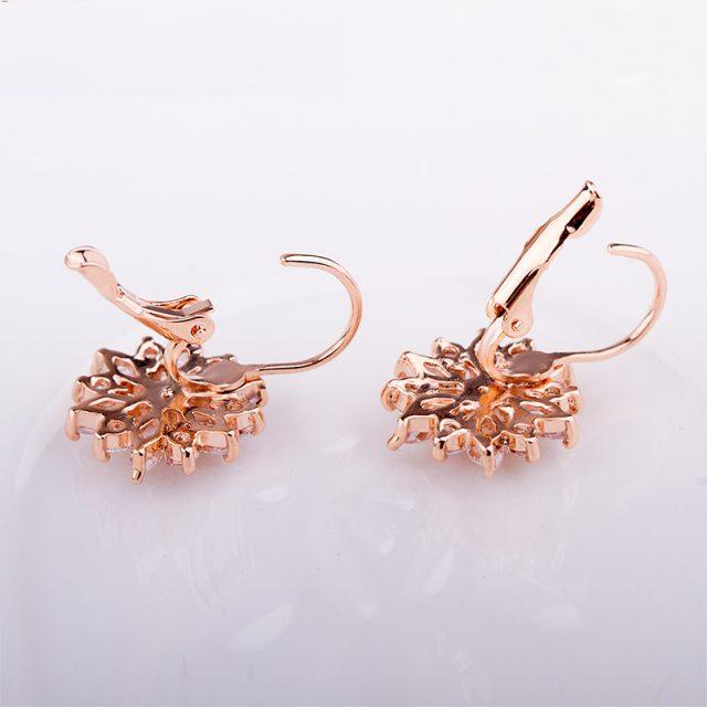 Luxury Gold Color Flower Stud Earrings with Zircon Stone