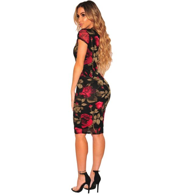 Black Floral Print Knee Length Pencil Midi Dress