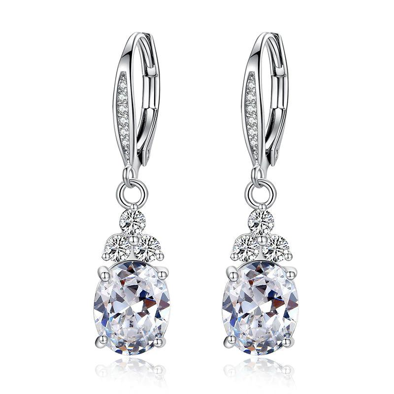 White & Blue Crystal Drop Earring