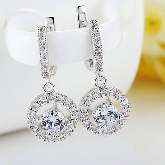 White Gold Color Oversized Drop Earring With Synthetic Zircon 0.6CM Clasp For Pierced Ear