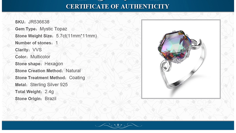 Rainbow Fire Mystic Topaz Ring    Solid 925 Sterling Silver Jewelry Ring