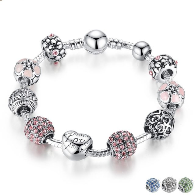 Antique Silver Charm Bracelet & Bangle with Love and Flower Beads