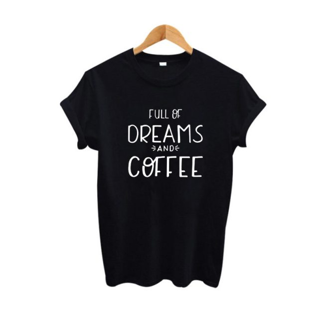 Fashion Coffee Themed Inscribed Cotton Women's T-Shirt