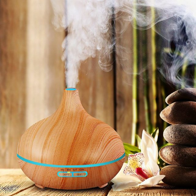 300 ml Essential Oil Diffuser With Dark and Light Wood Grain