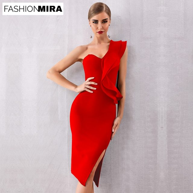 Sexy Classic Bandage One Shoulder Midi Celebrity Party Dress