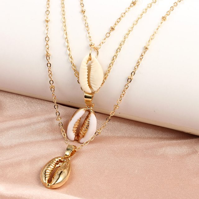 Three Layers of Natural Shell Pendant Necklace