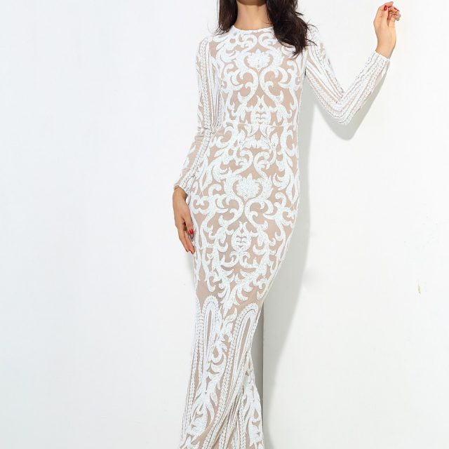 White Geometric Sequin Maxi Dress