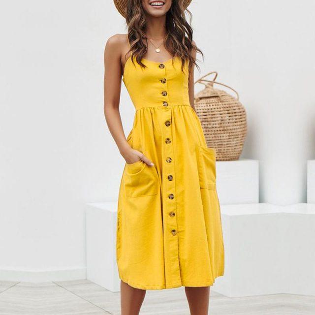 Spaghetti Strap Button Down Midi Dress