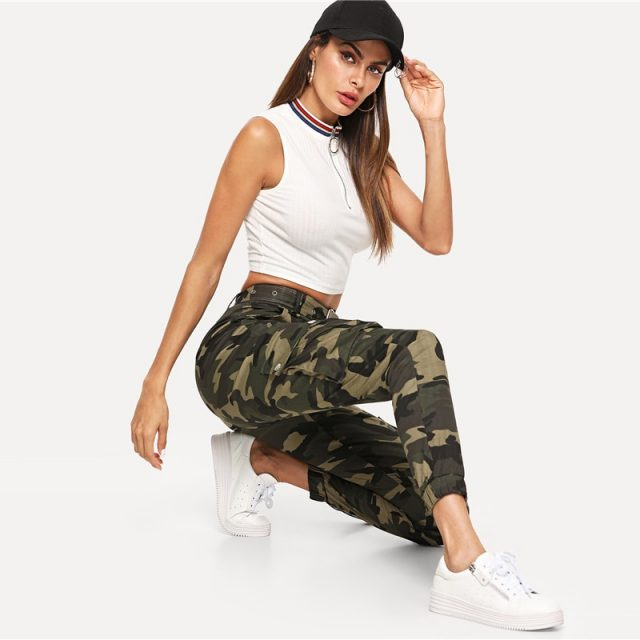 Super High Waisted Camo Ankle Utility Jogger Pant