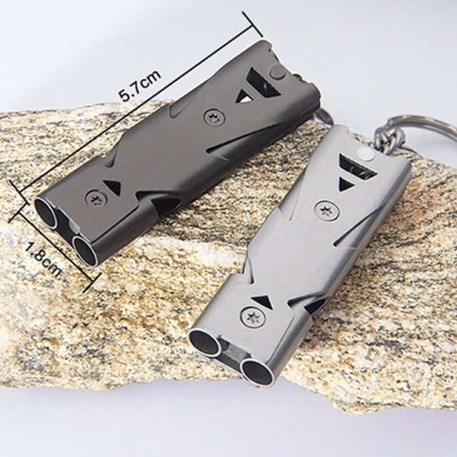 Aluminum high-frequency Emergency Survival Whistle Keychain for Camping