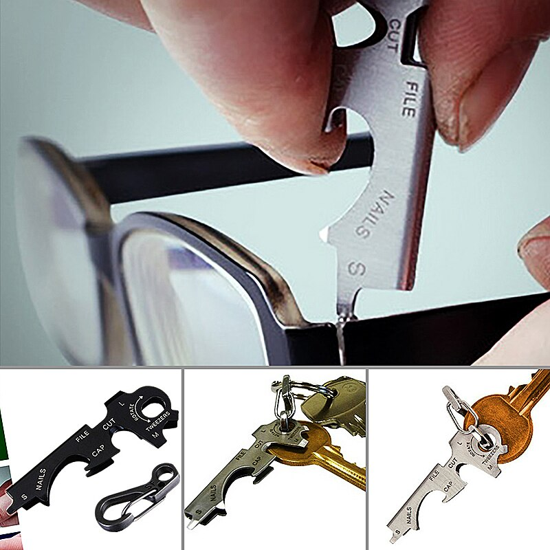 8 in 1 Multi Tool Key Stainless Steel Outdoor Multi-functional Tool Utility Multi Ring Chain Bottle Opener