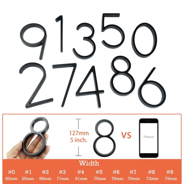 127mm Big  Zinc Alloy Modern House Number