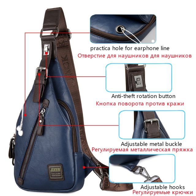 Anti theft Rotatable Button Open Leather Chest Bags
