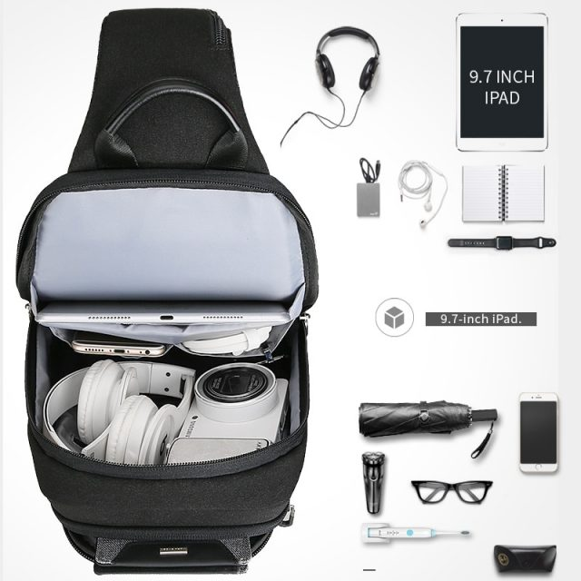 Anti-theft Crossbody Bag Waterproof Men Sling Chest Bag Fit 9.7 inch Ipad Fashion Shoulder Bag