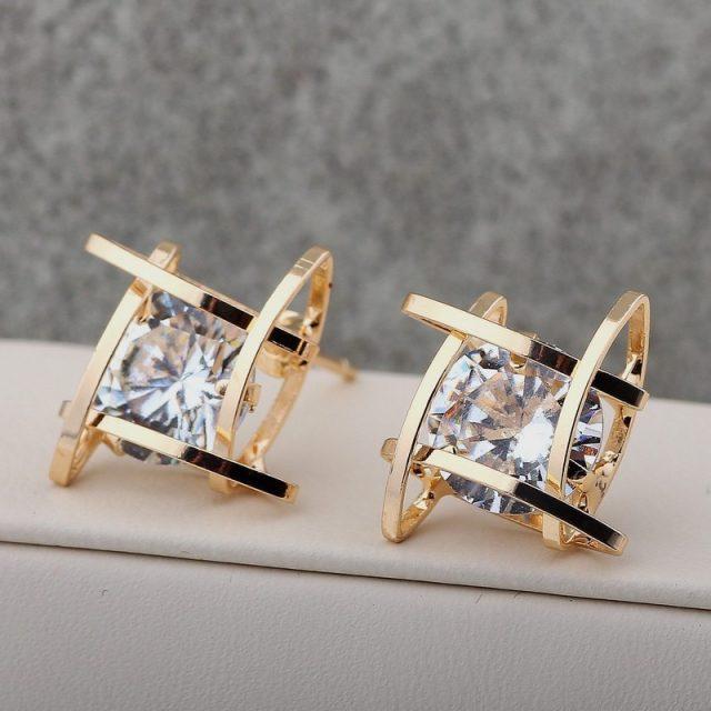 Triangle Zircon Stud Earrings