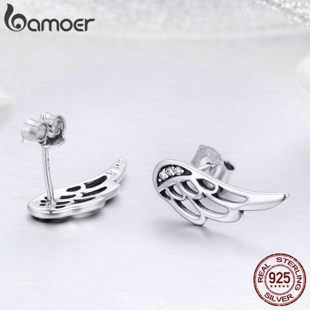 925 Sterling Silver  Feather Fairy Wings Stud Earrings   Jewelry Christmas