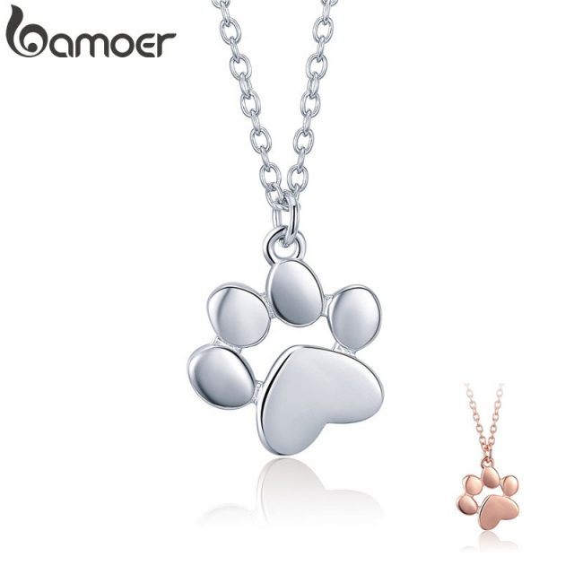 Dog Cat Footprints Paw Necklaces Pendants