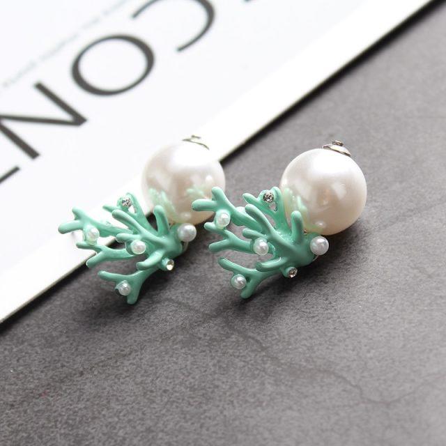 Red Coral Deer Antler White Faux Pearl Stud Christmas Earrings