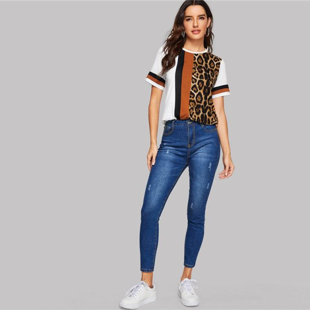 Color Block Cut-and-Sew Leopard Panel Top Short Sleeve O-Neck Casual T Shirt