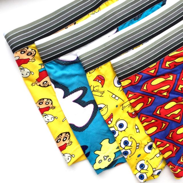 Cartoon Print Man Boxers 7Pcs Silk Underwear