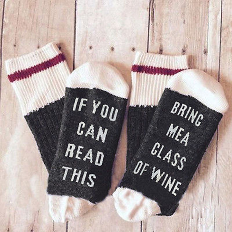 Unisex Men Women Funny Socks If You Can Read This Bring Me A Glass Of Wine Socks
