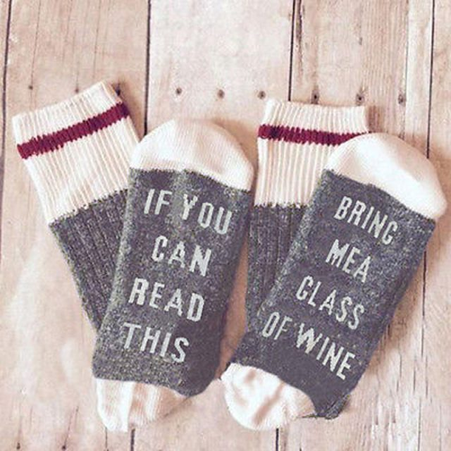 If You Can Read This Bring Me a Glass of Wine Novelty Socks  for women