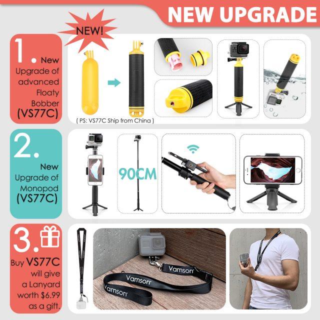 Gopro Accessories bundle Set for go pro hero 8 7 6 5 4 kit with 3 way selfie stick