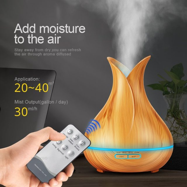 Premium Essential Oil Diffuser, 400ml Aromatherapy Oil Diffuser with Cool Mist, Waterless Auto Shut-Off Humidifier and 7 Color LED Night Lights