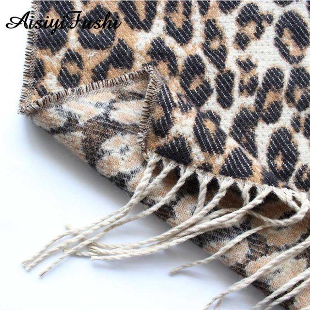 Brown Poncho Leopard Femme Women Winter Blanket Scarf