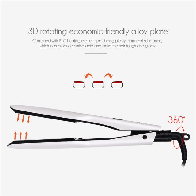 3D Rotating Professional PTC Hair Straightener with LCD Screen