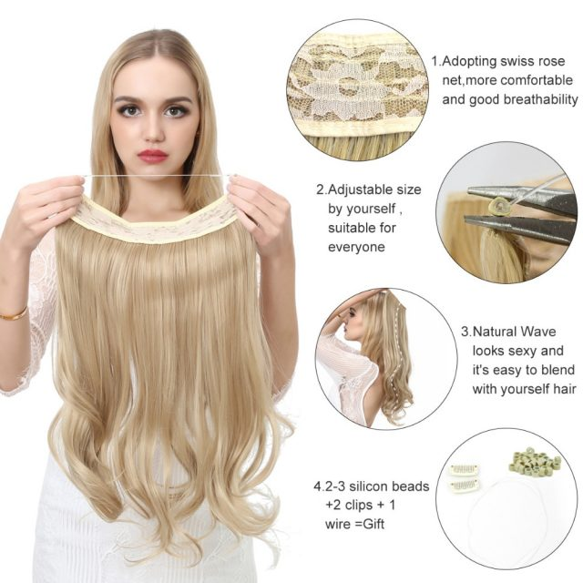 14″ 16″ 18″ 120g Wave Halo Hair Extensions Invisible Ombre Bayalage Synthetic Natural Flip Hidden Secret Wire Crown Grey Pink