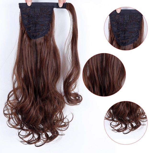 WTB 22″ Long Wavy Wrap Around Clip In Ponytail Hair Extension Heat Resistant Synthetic Natural Wave Pony Tail Fake Hair
