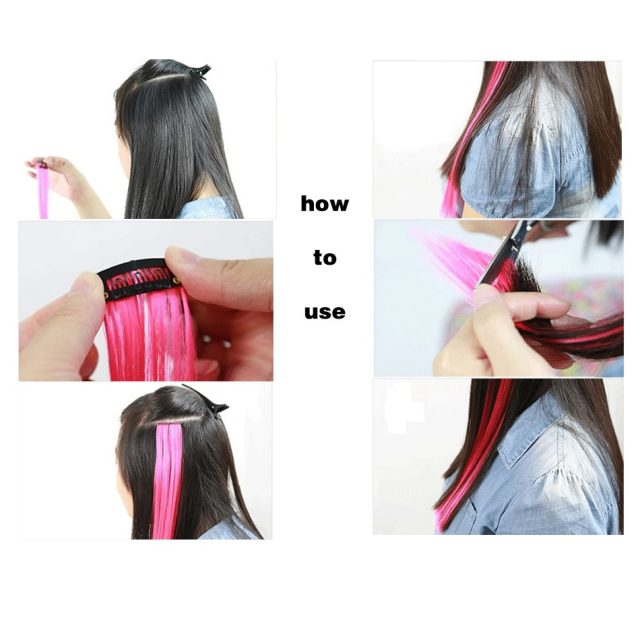 MUMUPI Long Straight color Hair Piece Hair Extensions Clip In Highlight Rainbow Hair Streak Pink Synthetic Hair Strands on Clips