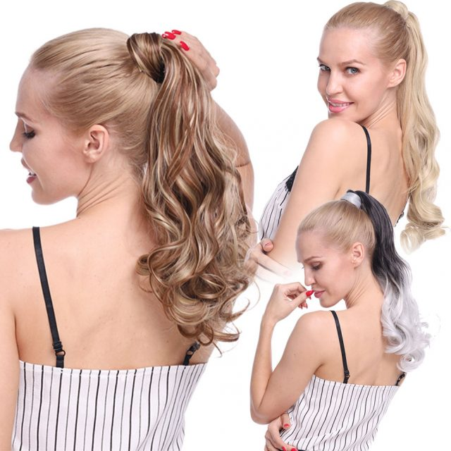 s-noilite 23″ Long Curly Clip In Hair Tail False Hair Ponytail Hairpiece With Hairpins Synthetic Hair Pony Tail Hair Extension