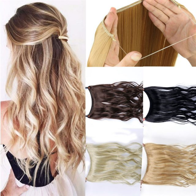 Allaosify 24″ Invisible Wire No Clips In Hair Extensions Secret Fish Line Hairpieces Synthetic Straight Wavy Hair Extensions