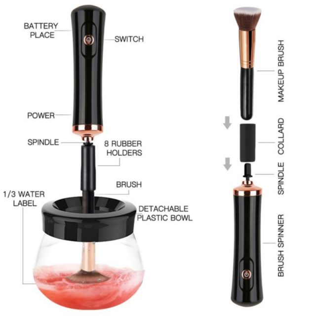 10 Seconds Convenient Electric Wash Makeup Brush Dryer Cleaner Device Make up Brushes Washing Cleanser Cleaning Machine Tool