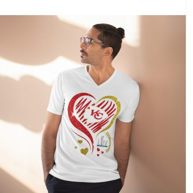 Love Kansas City Chiefs Jersey Short Sleeve V-Neck Tee for men